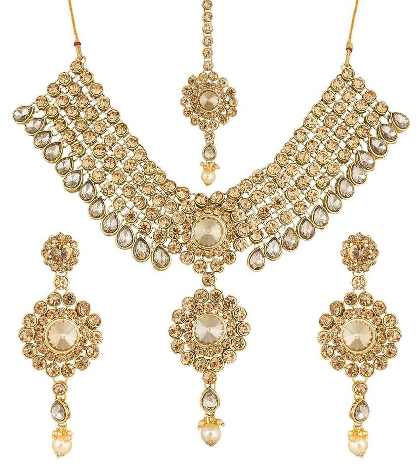 Aadita Designer Wedding Bridal Traditional Gold Plated Heavy Royal Kundan Diamond and Pearl Necklace