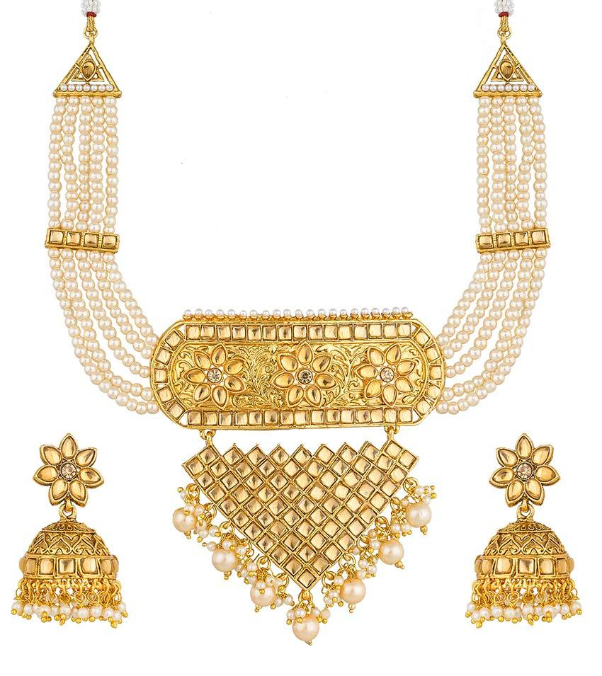 Aadita Ethnic Traditional gold plated Necklace set for Women and Girls
