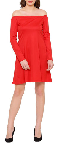 Red Fit Off Shoulder Flare Dress