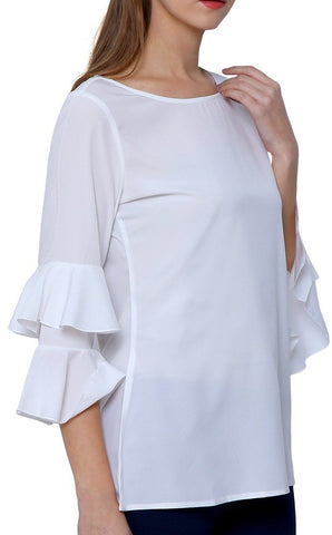 White Boat Neck Top