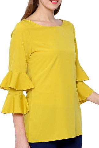 Yellow Boat Neck Top
