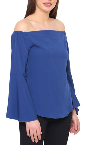 Blue Off Shoulder Bell Sleeves Top