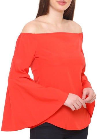Red Off Shoulder Bell Sleeves Top