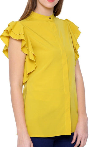 Yellow Mandarin Collar Top