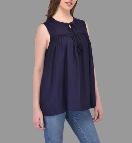 Navy Blue Flare Top with Neck Tie