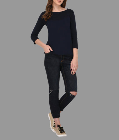 Navy Blue Top With Zip Detailed Sleeves