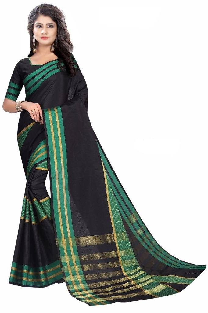 Florence Black & Green Cotton Silk Plain Saree With Blouse(FL-PT-NewBlue2)