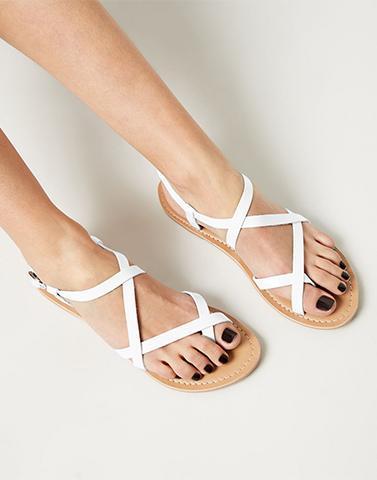 White Casual Strappy Flats