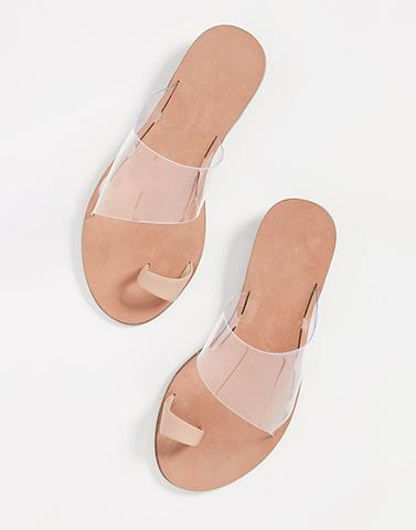 Beige Babe Ring-Toe Flats