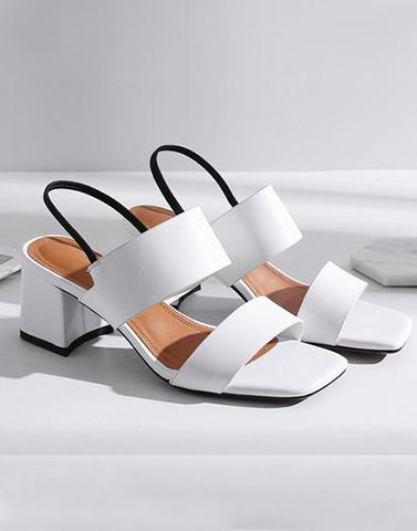 Sweet Praise White Block Heels
