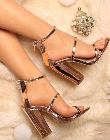 Rare Beauty Dual Strap Rose Gold Heels