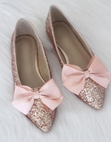 Shimmer Pink Bow Flats