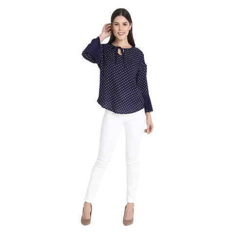 Nevy With White Dotted Cold Shoulder Bell Sleeves Top
