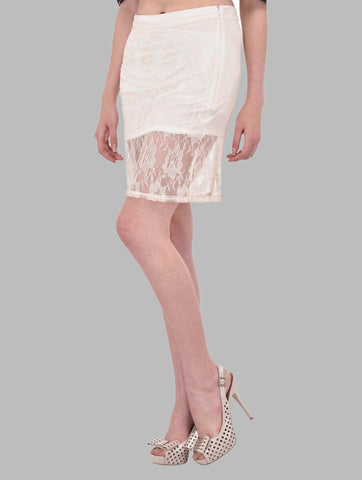 Off White Floral Lace Pencil Skirt