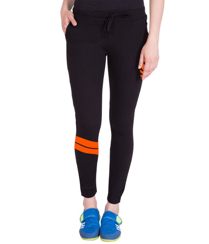 Women's Black Stylish Run Printed Trackpant
