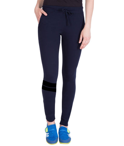 Nevy Blue Run Printed Trackpant for Women