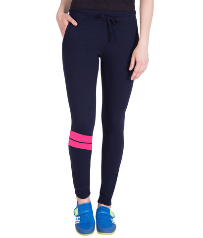 Nevy Blue Stylish Run Printed Trackpant for Women