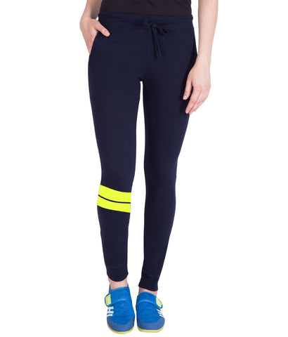Nevy Blue,Yellow Printed Trackpant for Women