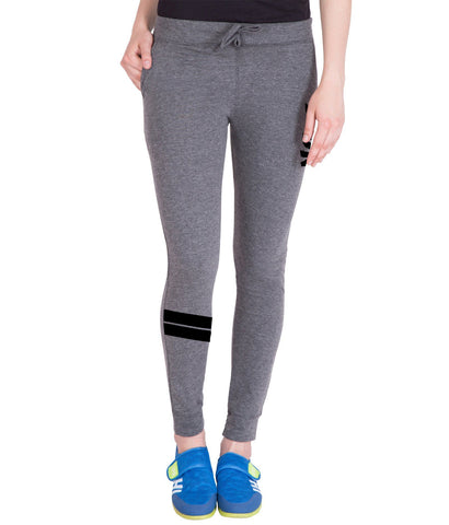 Dark Grey Stylish Printed Trackpant for Women