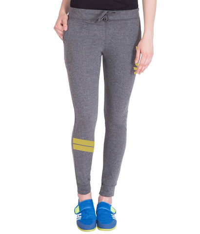 Women's DarK Grey,Golden Run Printed Trackpant