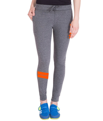 Women's Dark Grey,Orange Printed Trackpant