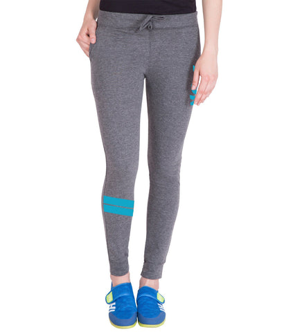 Women's Dark Grey,Sky Blue Printed Trackpant