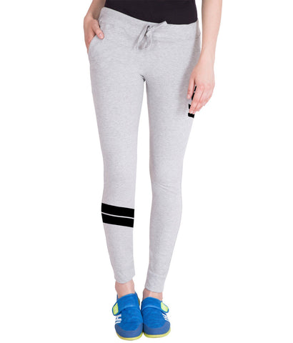 Women's Light Grey,Black Stylish Printed Trackpant