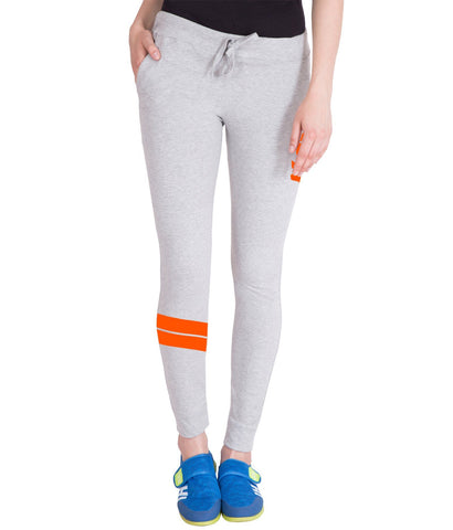 Light Grey and Orange Stylish Track Pant for Women