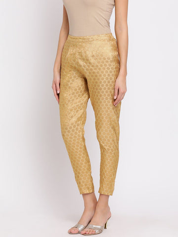 Beige Self-Design Mid-Rise Peg Trousers
