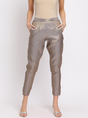 Grey Self-Design Mid-Rise Peg Trousers