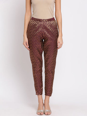 Purple Self-Design Mid-Rise Peg Trousers
