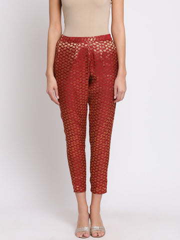 Maroon Self-Design Mid-Rise Peg Trousers