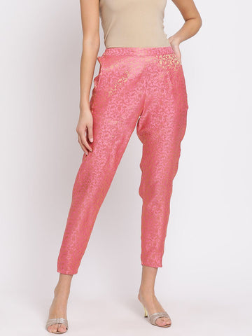 Pink Self-Design Mid-Rise Peg Trousers