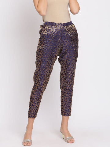 Navy Blue Self-Design Mid-Rise Peg Trousers