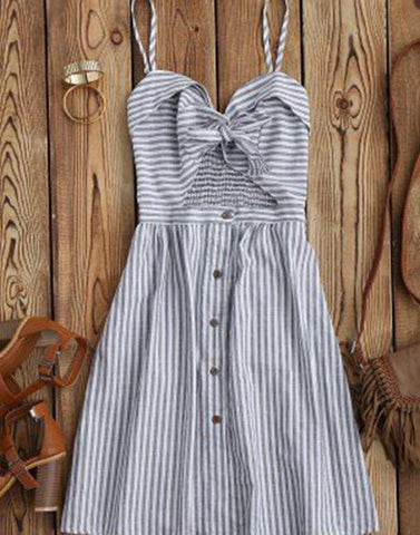Pretty Striped Bow Dress
