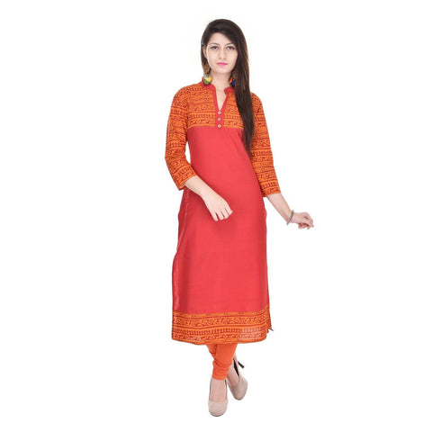 Jaipur Printed Orange Cotton Mandarin 3/4 Sleeves Kurtis