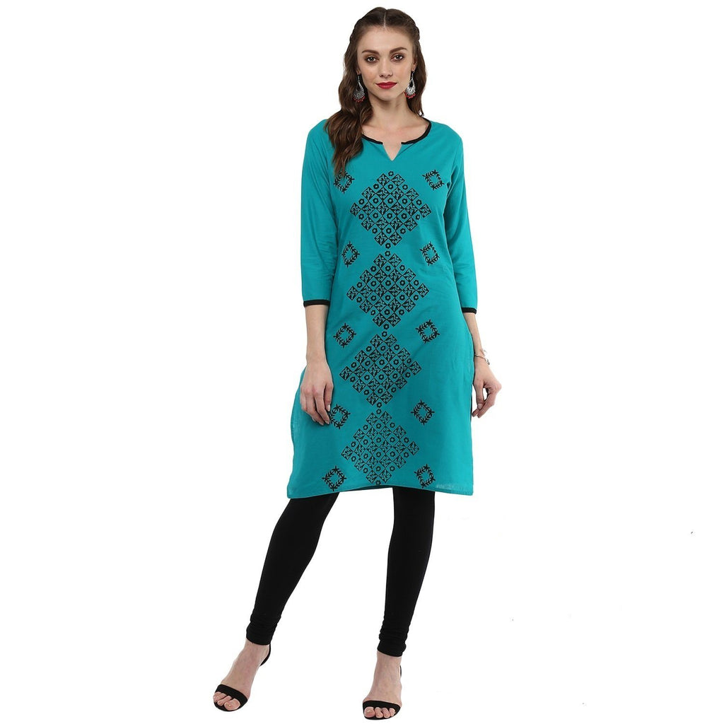 Hand Block Ram Cotton Straight Kurtis