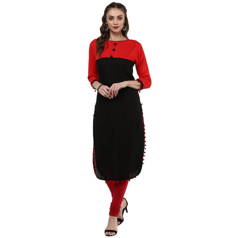 Solid Black Rayon Apple Cut Kurtis
