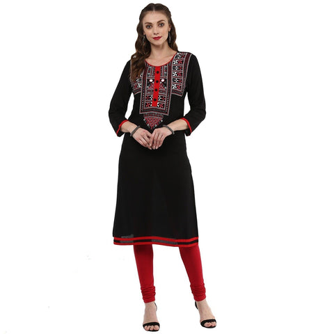 Solid Black Rayon Straight Kurtis