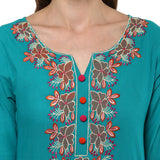 Embroidered Rama Green Cotton Straight Kurtis