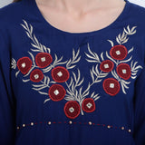 Embroidered Blue Cotton Straight Kurtis