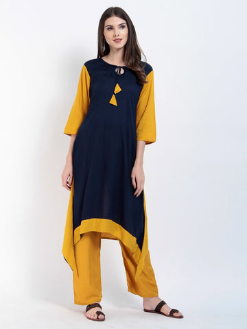 Solid Navy Rayon Key Hole 3/4 Sleeves Kurtis