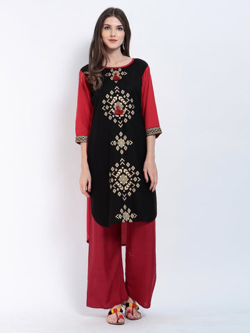 Solid Red Rayon Low High Kurtis
