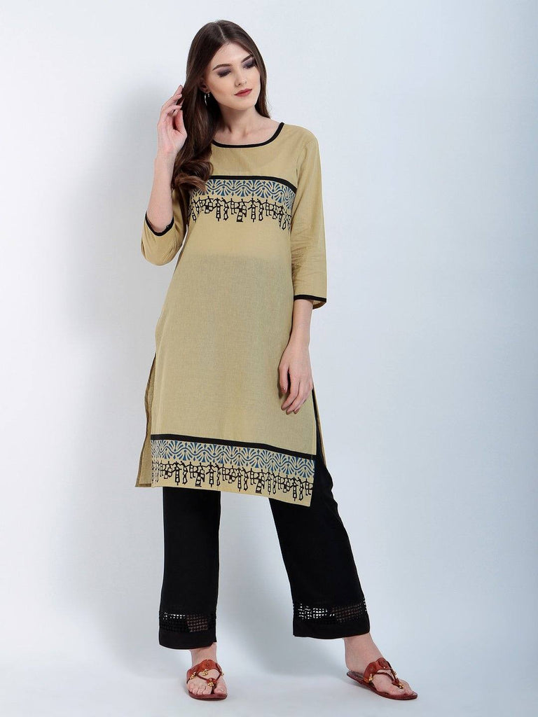 Hand Block Beige Cotton Round 3/4 Sleeves Kurtis