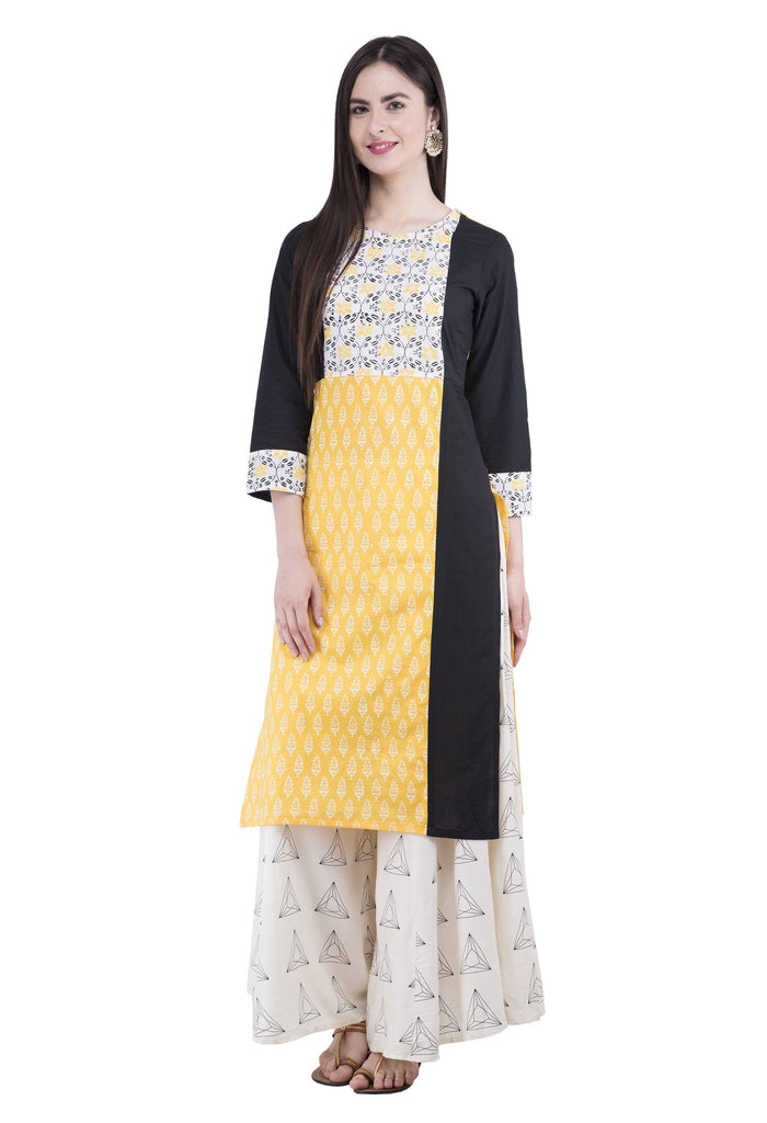 Rishaga Yellow Cotton Straight Kurta