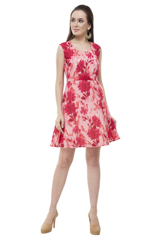 Rishaga A-Line Foral Belted Dress