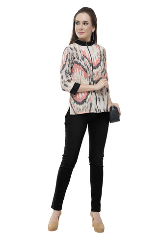 Rishaga Zip Up Front High Low Top