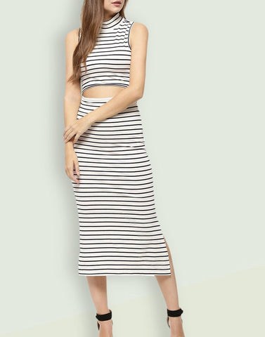 Stripe Ice Cut Long Dress