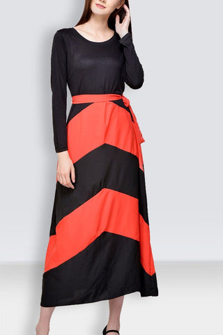 Black & Peach Long Dress