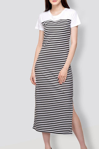 Black & White Fish Cut Long Dress